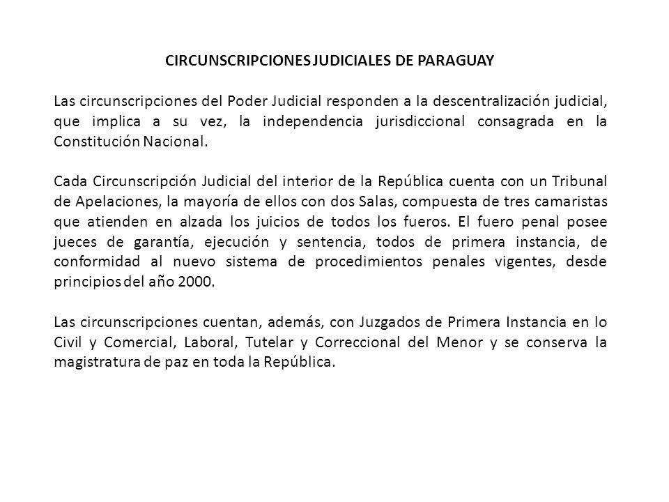 CIRCUNSCRIPCIONES JUDICIALES DE PARAGUAY