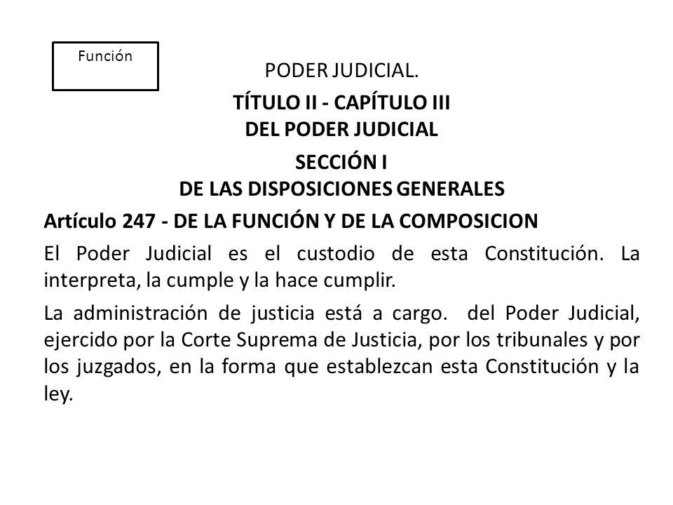 TÍTULO II - CAPÍTULO III DEL PODER JUDICIAL