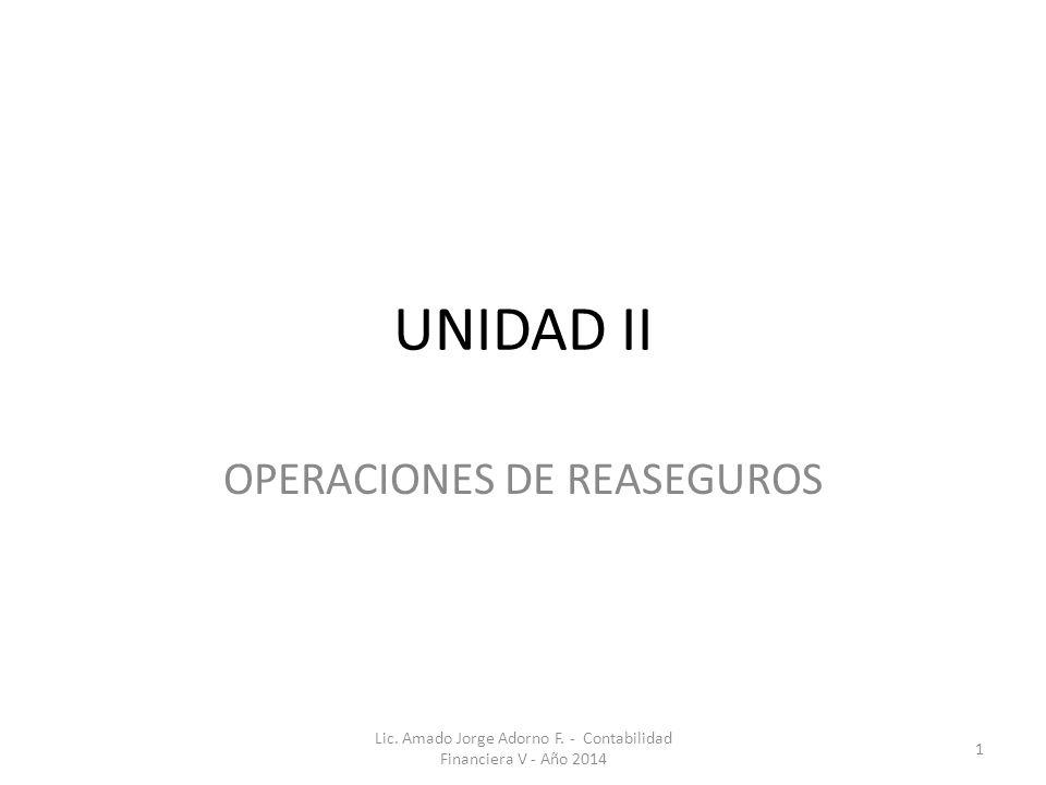 OPERACIONES DE REASEGUROS