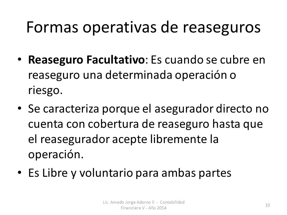 Formas operativas de reaseguros
