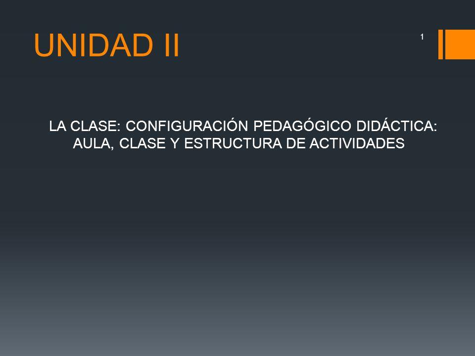 UNIDAD II LA CLASE: CONFIGURACIÓN PEDAGÓGICO DIDÁCTICA: AULA, CLASE Y ESTRUCTURA DE ACTIVIDADES