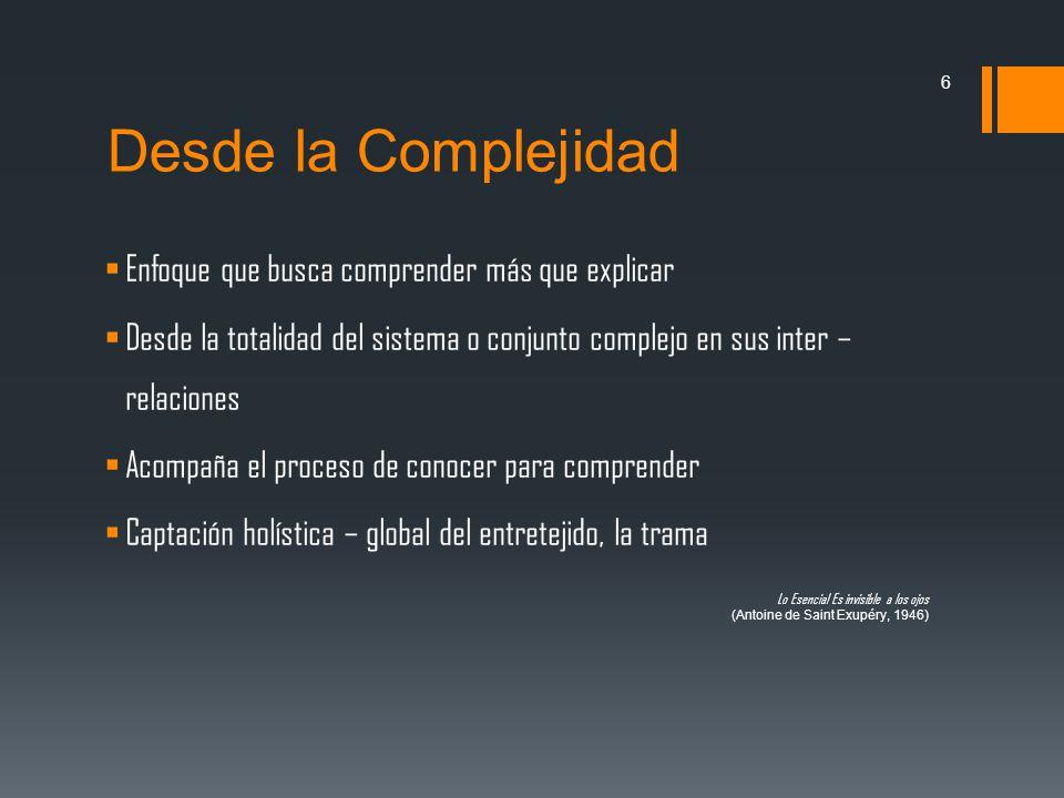 Desde la Complejidad Enfoque que busca comprender más que explicar