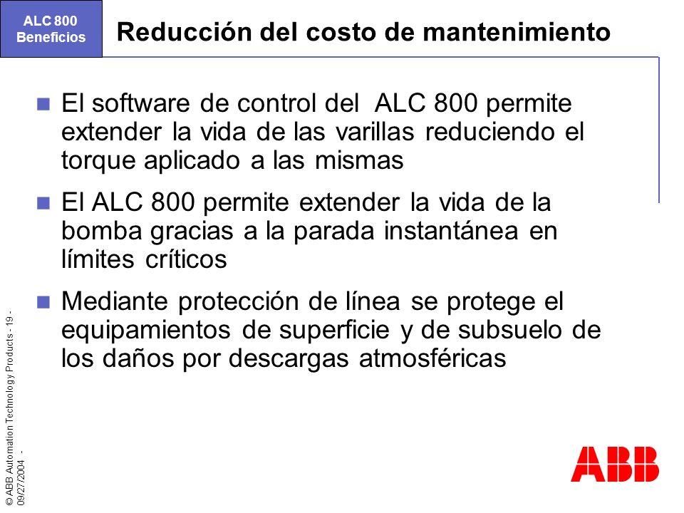 Reducción del costo de mantenimiento