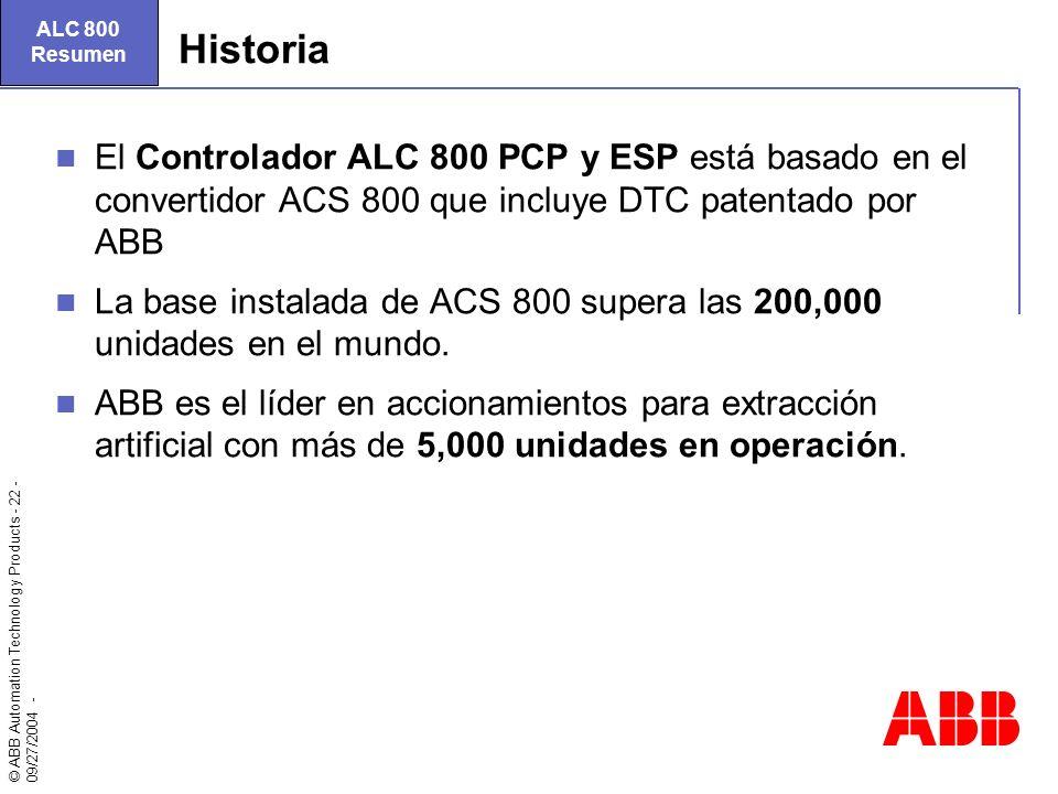 ALC 800 Resumen. Historia. El Controlador ALC 800 PCP y ESP está basado en el convertidor ACS 800 que incluye DTC patentado por ABB.