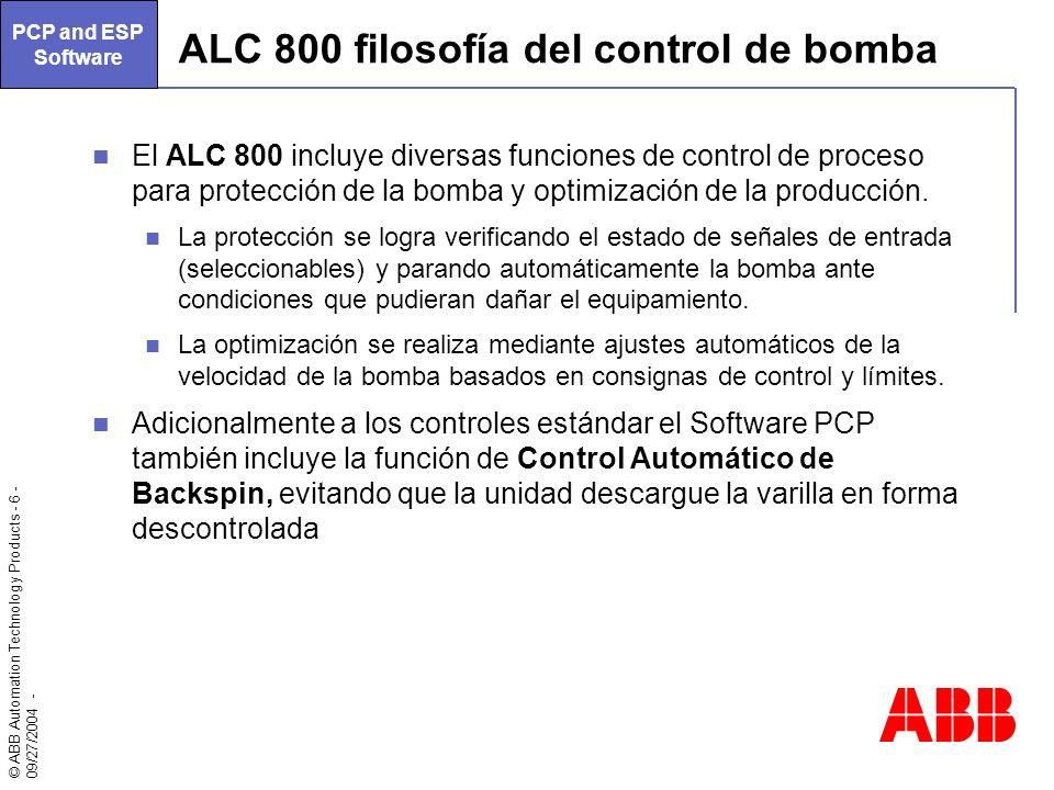 ALC 800 filosofía del control de bomba