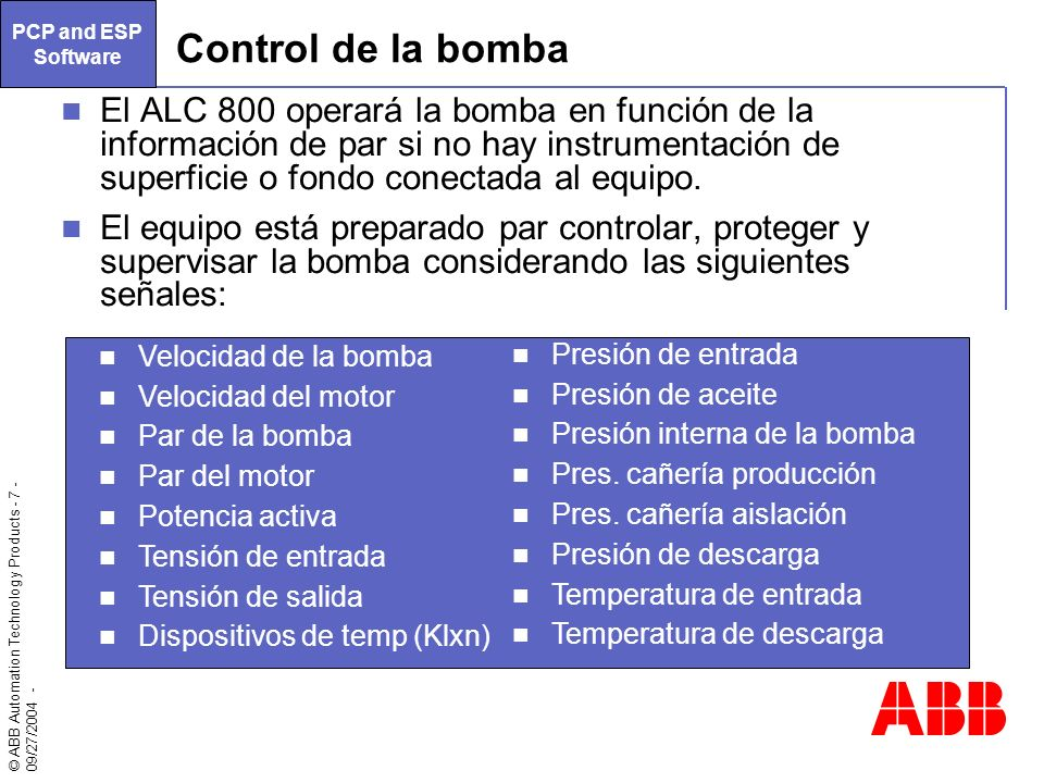 PCP and ESP Software Control de la bomba.