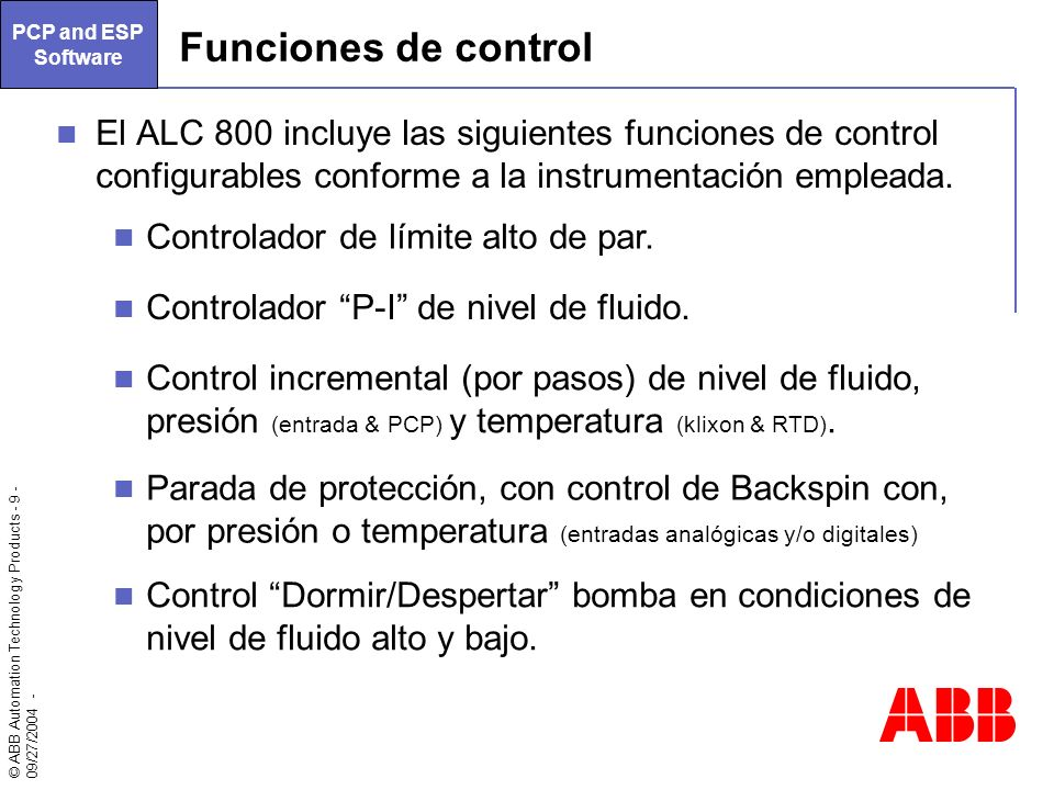 PCP and ESP Software Funciones de control.