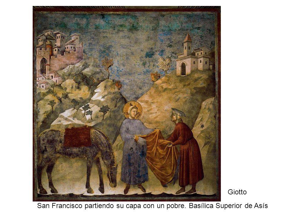 Giotto San Francisco partiendo su capa con un pobre. Basílica Superior de Asís
