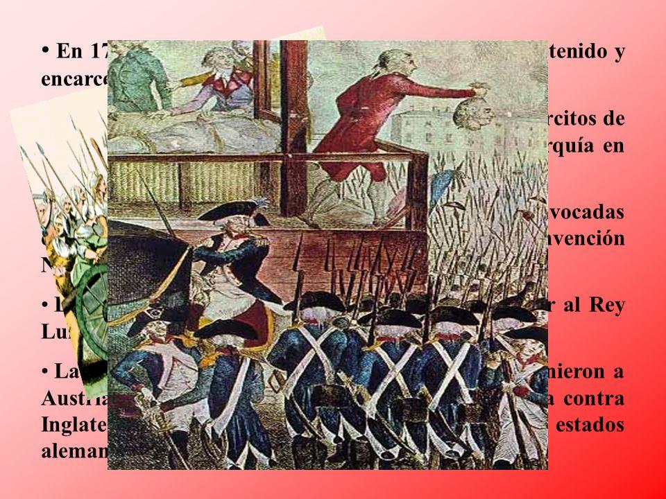 En 1791 el Rey intentó huir con su familia y fue detenido y encarcelado.