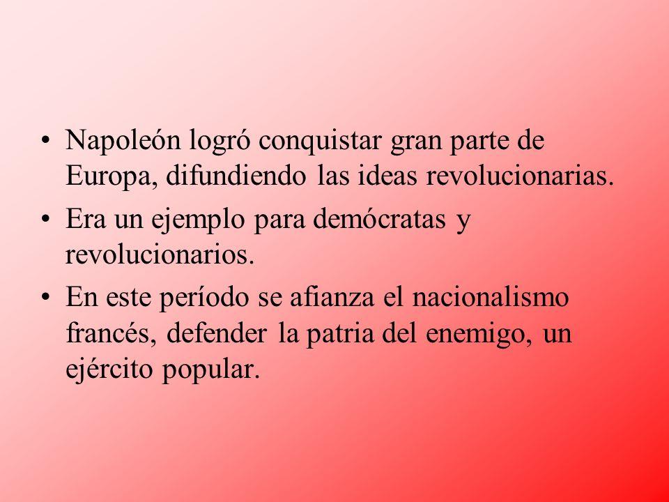 Napoleón logró conquistar gran parte de Europa, difundiendo las ideas revolucionarias.