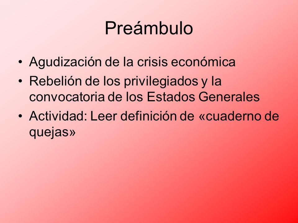 Preámbulo Agudización de la crisis económica
