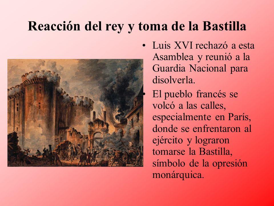 Reacción del rey y toma de la Bastilla
