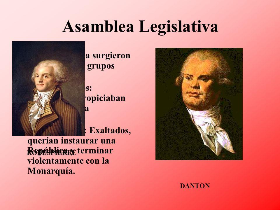 Asamblea Legislativa En la Asamblea surgieron con fuerza dos grupos antagónicos: