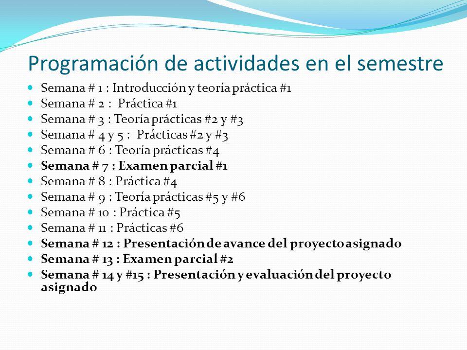 Programación de actividades en el semestre