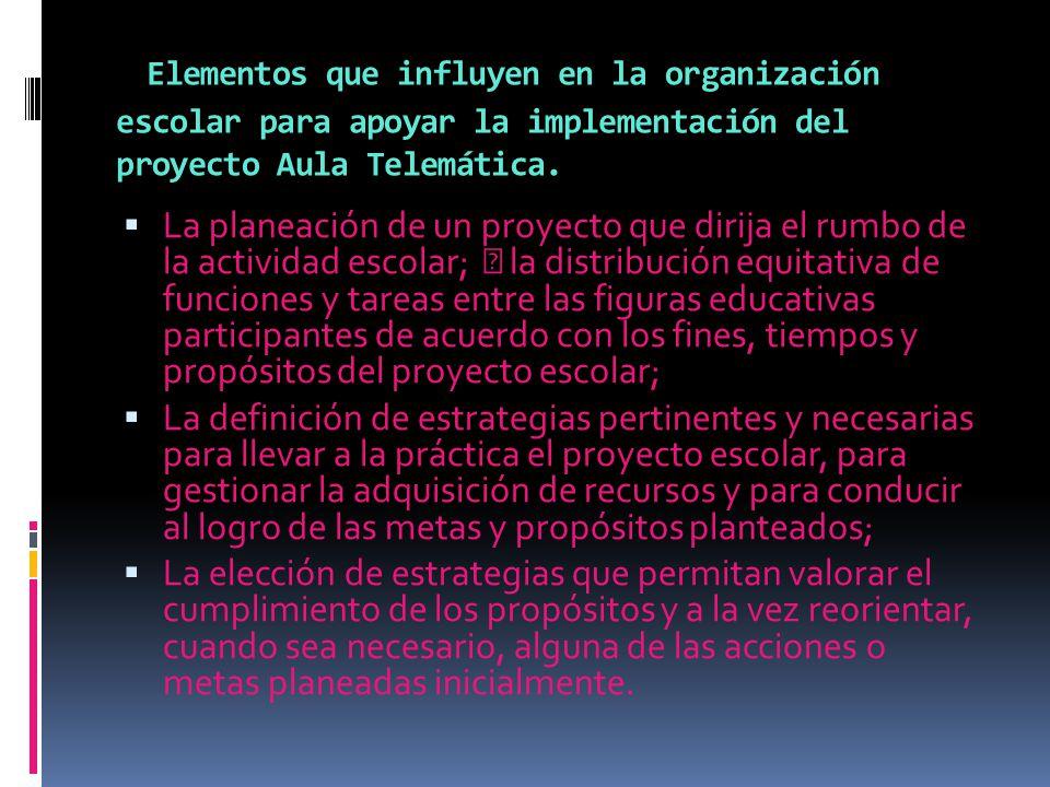 Elementos que influyen en la organización escolar para apoyar la implementación del proyecto Aula Telemática.