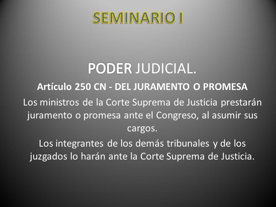 Artículo 250 CN - DEL JURAMENTO O PROMESA