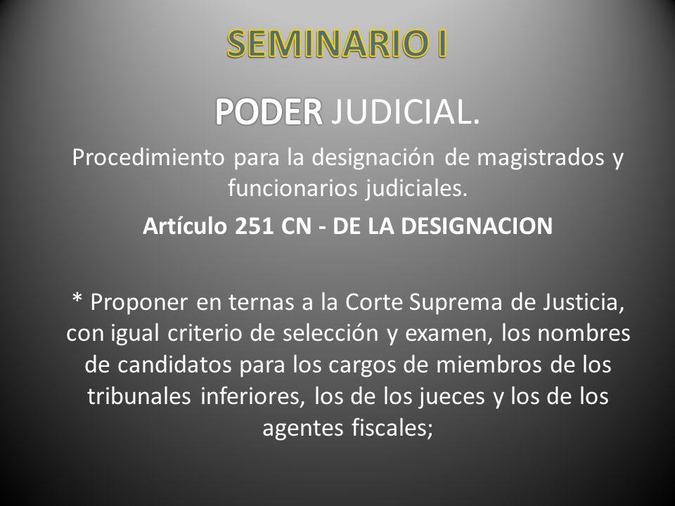 Artículo 251 CN - DE LA DESIGNACION