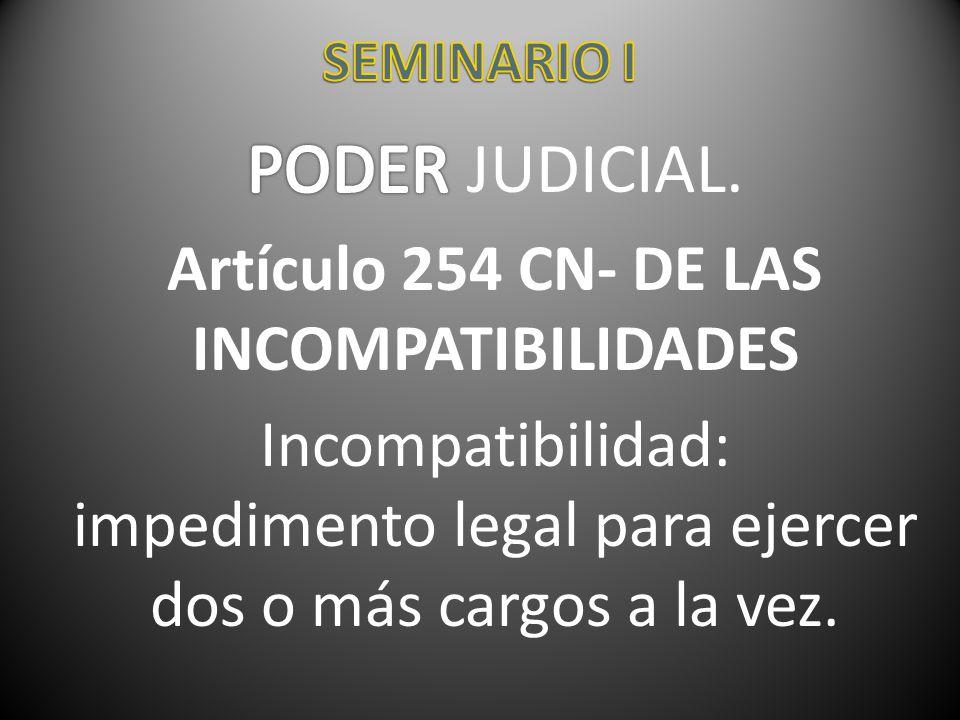 Artículo 254 CN- DE LAS INCOMPATIBILIDADES