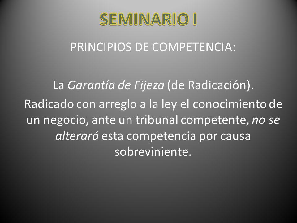 SEMINARIO I PRINCIPIOS DE COMPETENCIA: