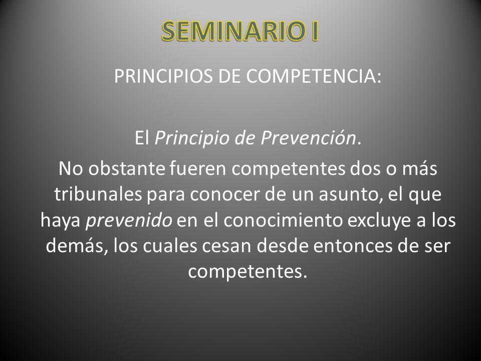 SEMINARIO I PRINCIPIOS DE COMPETENCIA: El Principio de Prevención.