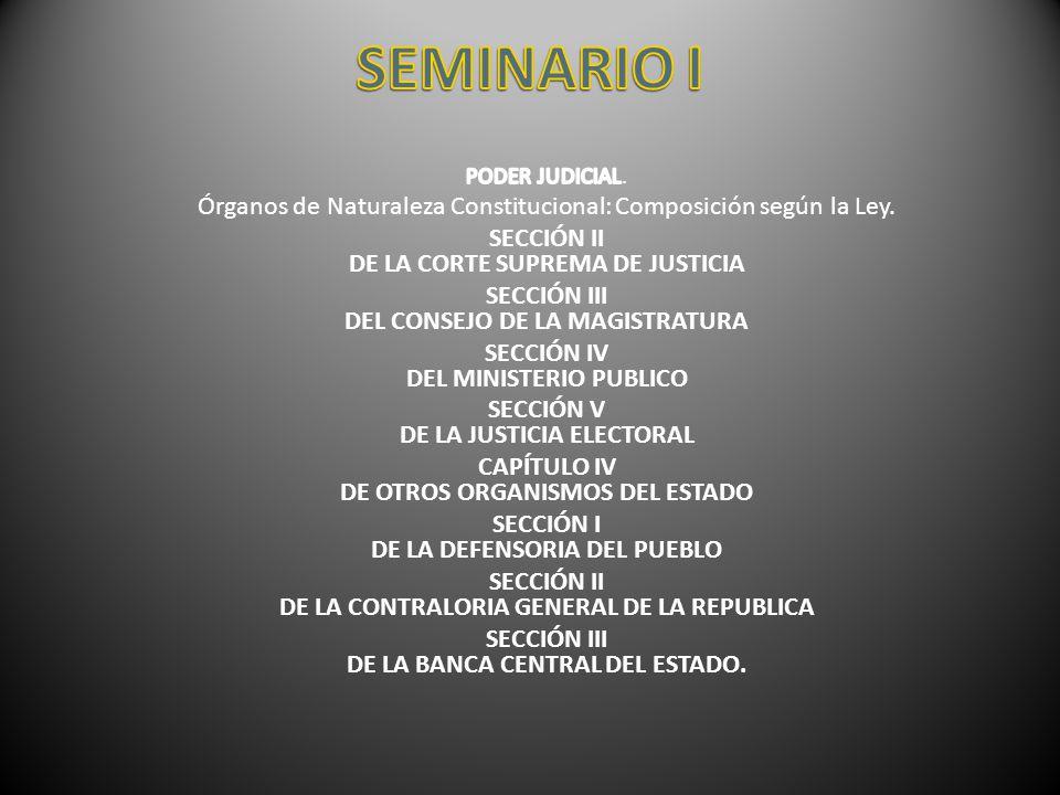 SEMINARIO I PODER JUDICIAL. Órganos de Naturaleza Constitucional: Composición según la Ley. SECCIÓN II DE LA CORTE SUPREMA DE JUSTICIA.