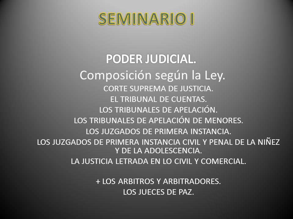 SEMINARIO I Composición según la Ley. PODER JUDICIAL.
