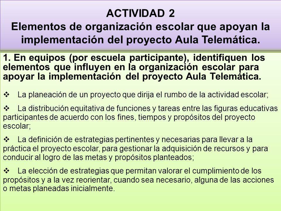 ACTIVIDAD 2 Elementos de organización escolar que apoyan la implementación del proyecto Aula Telemática.