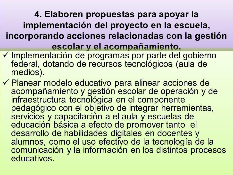 4. Elaboren propuestas para apoyar la implementación del proyecto en la escuela, incorporando acciones relacionadas con la gestión escolar y el acompañamiento.