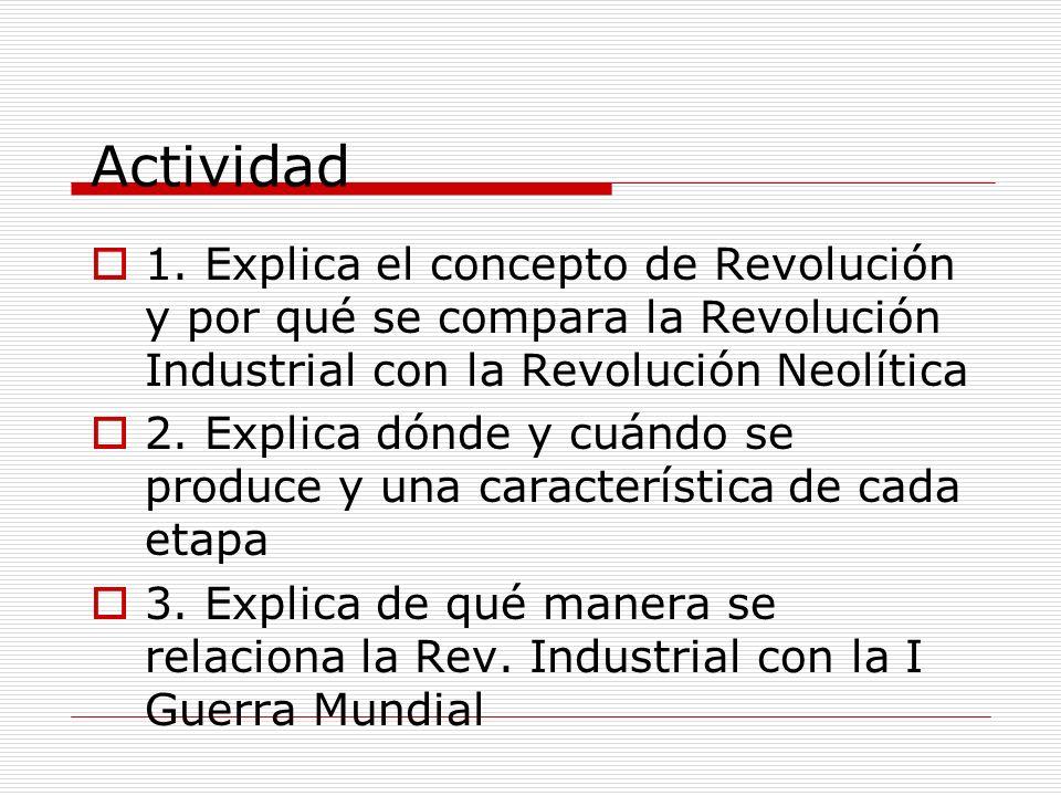 Actividad 1. Explica el concepto de Revolución y por qué se compara la Revolución Industrial con la Revolución Neolítica.