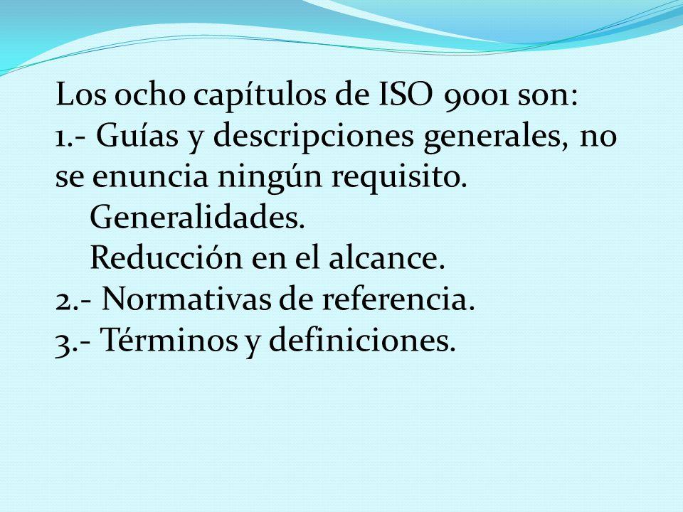 Los ocho capítulos de ISO 9001 son:
