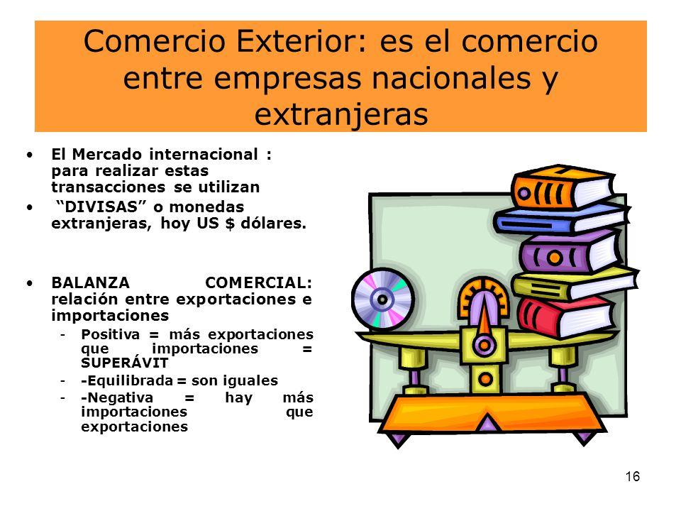 Comercio Exterior: es el comercio entre empresas nacionales y extranjeras