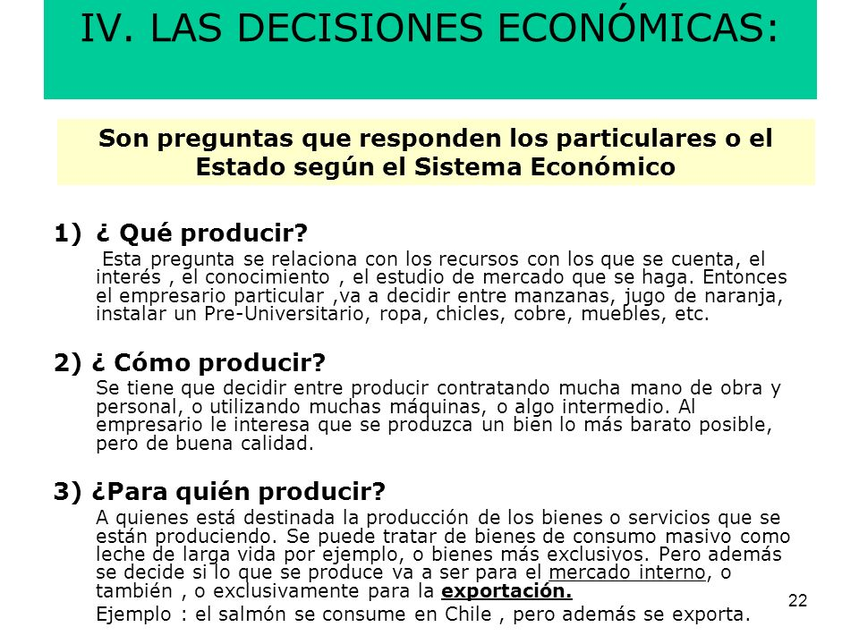 IV. LAS DECISIONES ECONÓMICAS: