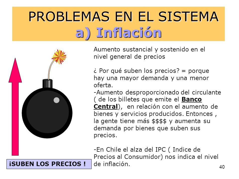 PROBLEMAS EN EL SISTEMA a) Inflación