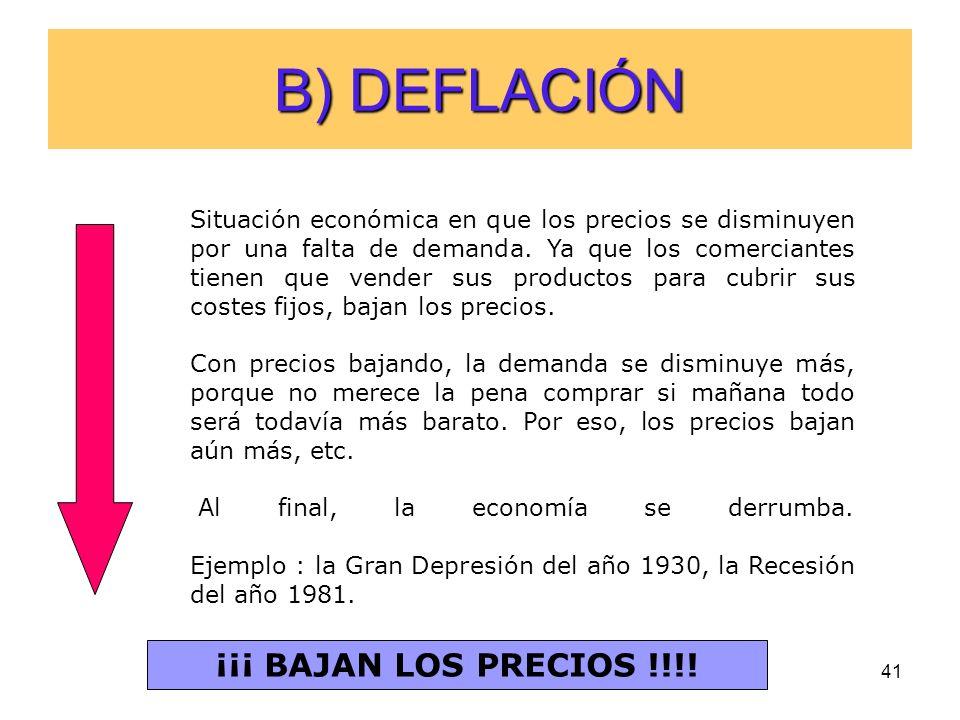 B) DEFLACIÓN ¡¡¡ BAJAN LOS PRECIOS !!!!