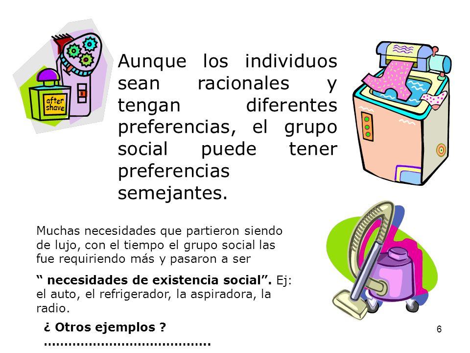 Aunque los individuos sean racionales y tengan diferentes preferencias, el grupo social puede tener preferencias semejantes.