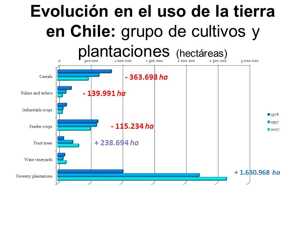 Evolución en el uso de la tierra en Chile: grupo de cultivos y plantaciones (hectáreas)