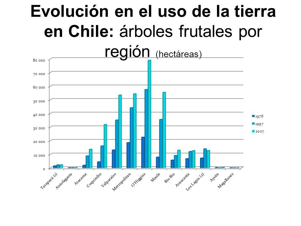 Evolución en el uso de la tierra en Chile: árboles frutales por región (hectáreas)