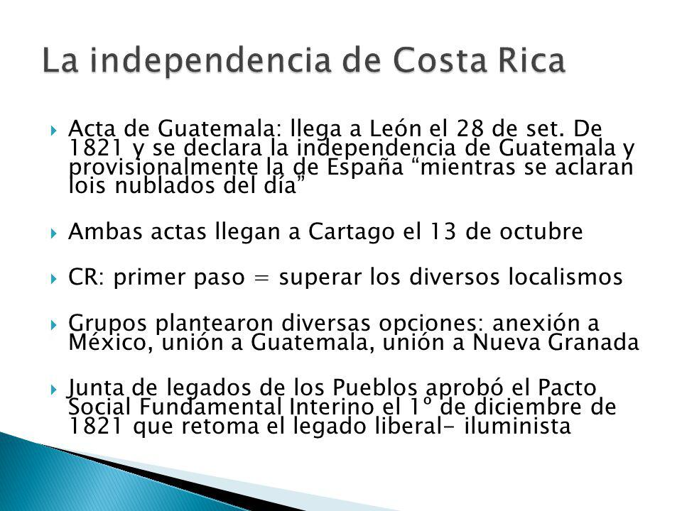 La independencia de Costa Rica
