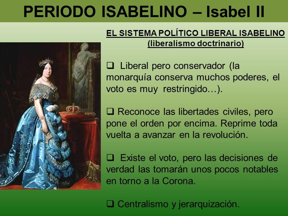 PERIODO ISABELINO – Isabel II (liberalismo doctrinario)