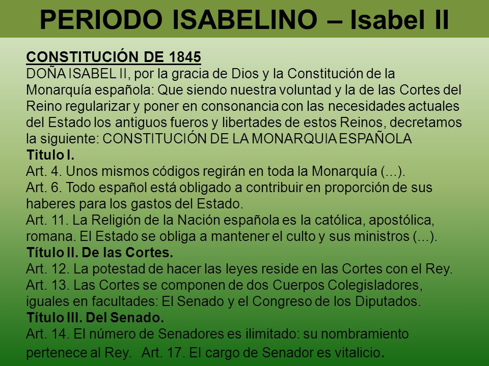 PERIODO ISABELINO – Isabel II