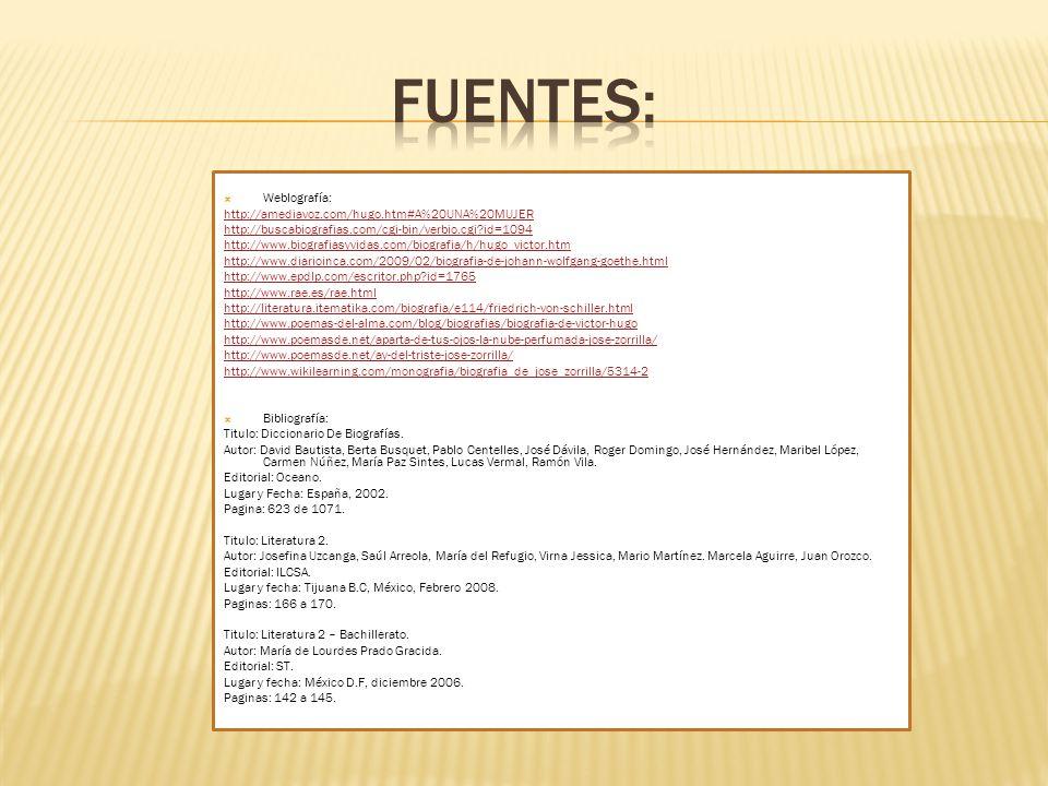 Fuentes: Weblografía: http://amediavoz.com/hugo.htm#A%20UNA%20MUJER