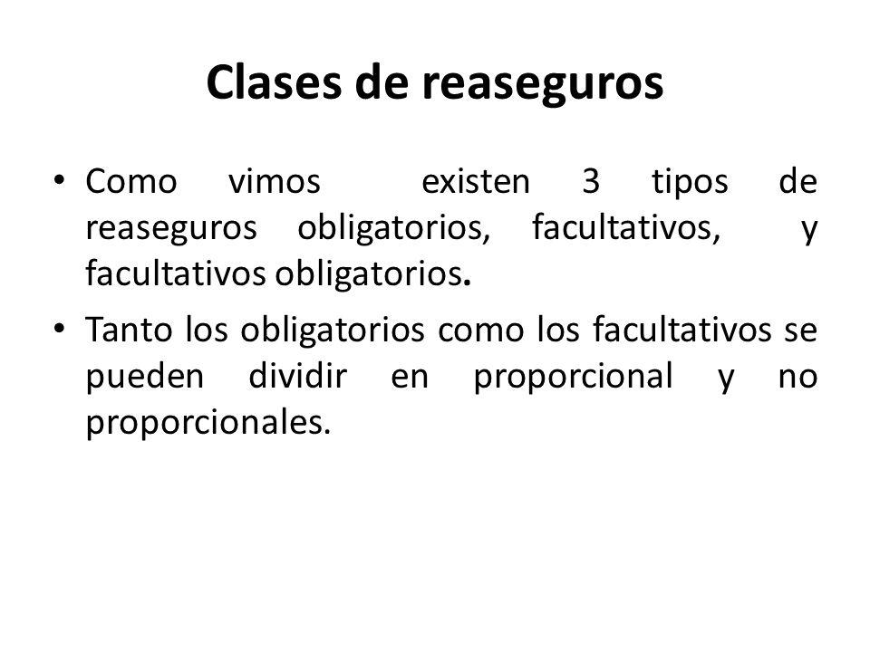 Clases de reaseguros Como vimos existen 3 tipos de reaseguros obligatorios, facultativos, y facultativos obligatorios.