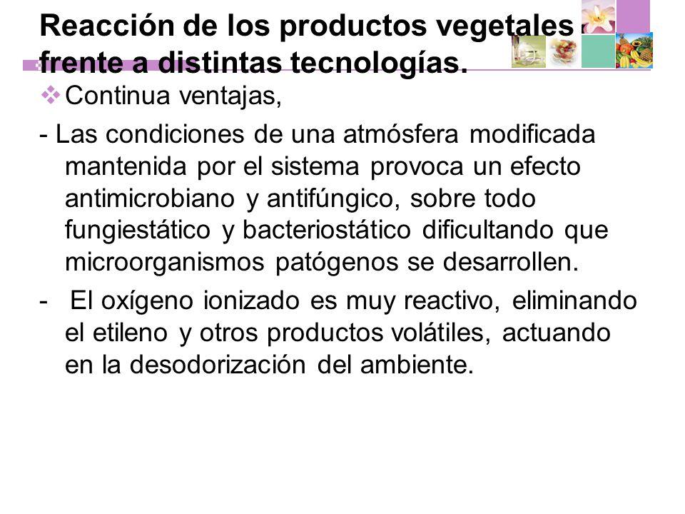 Reacción de los productos vegetales frente a distintas tecnologías.