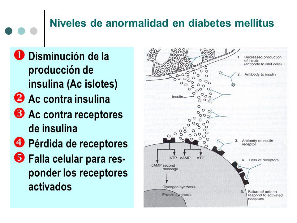 Niveles de anormalidad en diabetes mellitus
