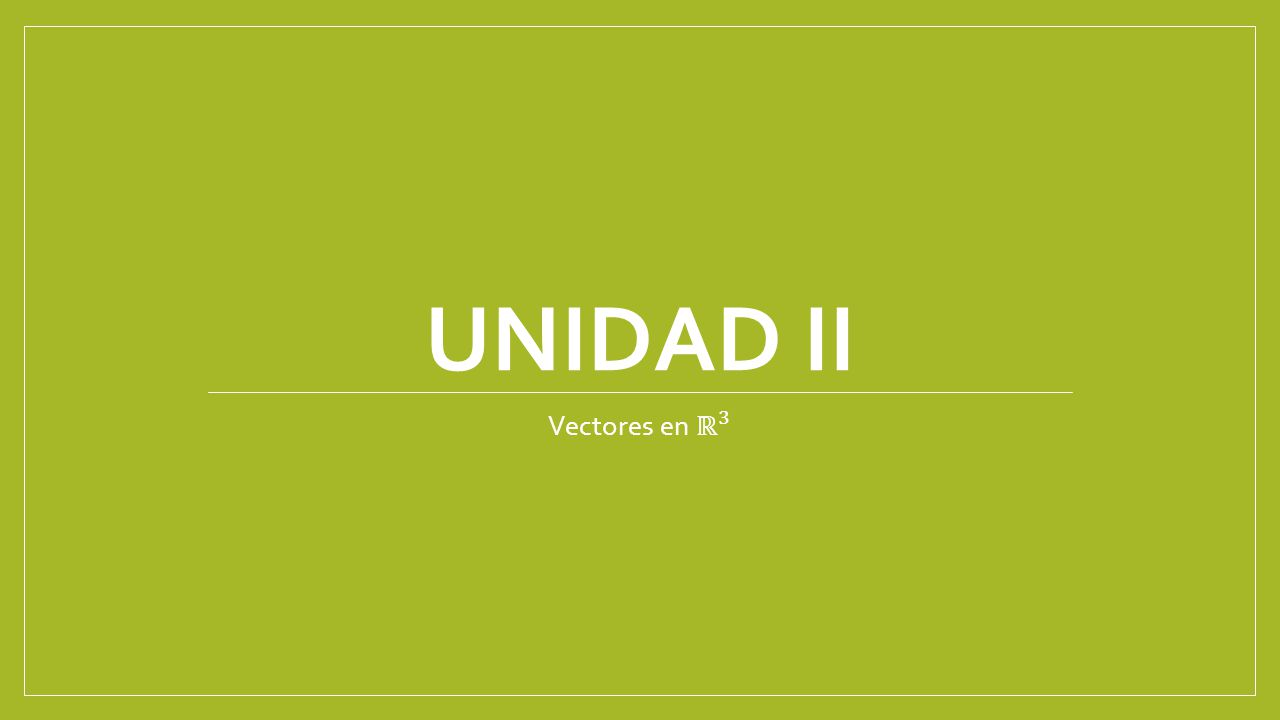 UNIDAD II Vectores en ℝ 3