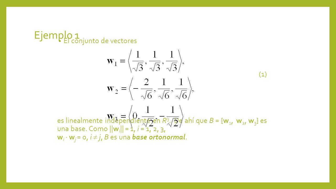 Ejemplo 1 El conjunto de vectores (1)
