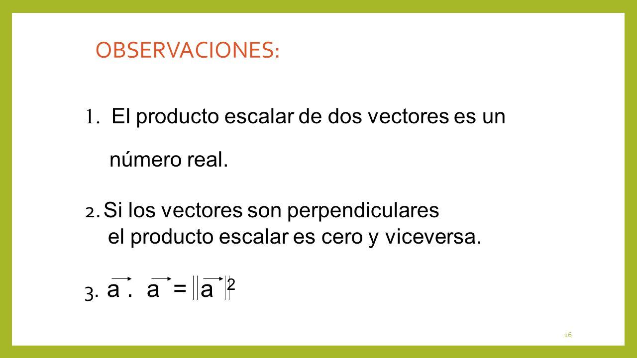 OBSERVACIONES: 1. El producto escalar de dos vectores es un número real. 2. Si los vectores son perpendiculares.