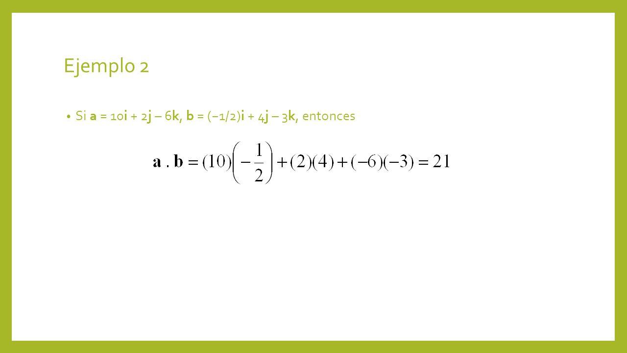 Ejemplo 2 Si a = 10i + 2j – 6k, b = (−1/2)i + 4j – 3k, entonces