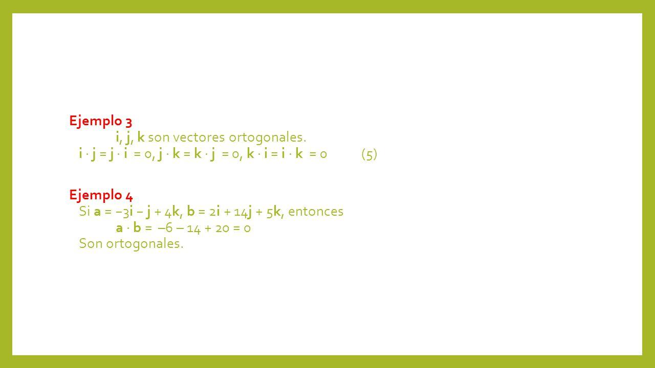 Ejemplo 3 i, j, k son vectores ortogonales