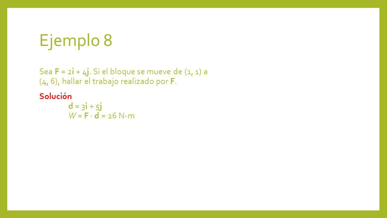 Ejemplo 8 Sea F = 2i + 4j.